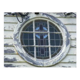 Old round window. postcard