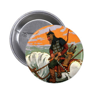 Old Russian Riding a Horse 6 Cm Round Badge