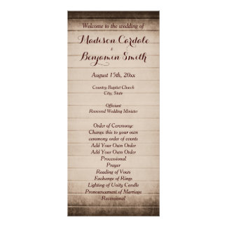 Old Rustic Barn Wood Wedding Program Template Customised Rack Card
