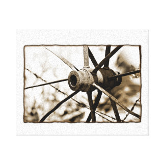 Old Rustic Metal Wagon wheel in Sepia Canvas Wrap Canvas Print