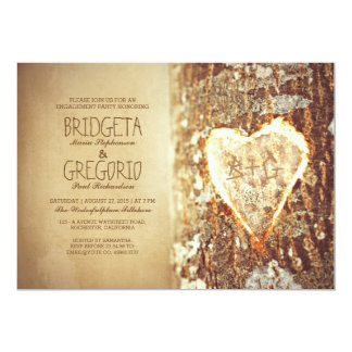 old rustic tree heart engagement party invitations