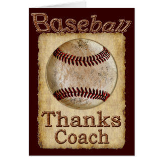 Old Rustic Vintage Baseball Thanks Coach Card
