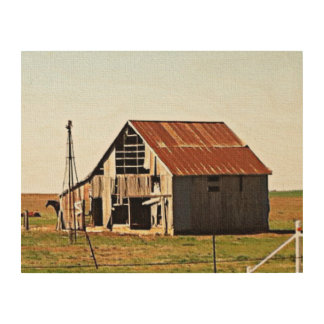 Old Rusty Barn on the Open Plains Wood Canvases