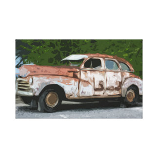 Old Rusty Broken Down Car Canvas