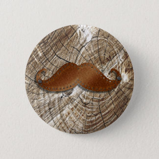 Old Rusty metal mustache with little holes around 6 Cm Round Badge
