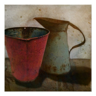 old Rusty Milk Pitcher and Pail Poster