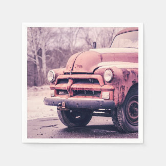 Old rusty truck disposable napkins