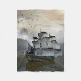 Old Sail Ship Small Fleece Blanket