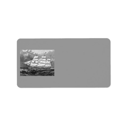 Old Sailing Ship Address Label