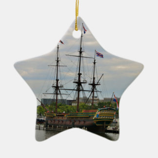 Old sailing ship, Amsterdam, Holland Ceramic Ornament