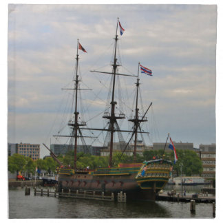 Old sailing ship, Amsterdam, Holland Napkin