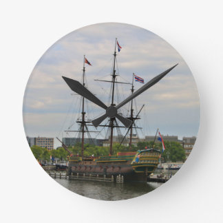 Old sailing ship, Amsterdam, Holland Round Clock