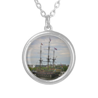 Old sailing ship, Amsterdam, Holland Silver Plated Necklace