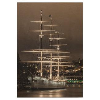 Old sailing ship wood poster