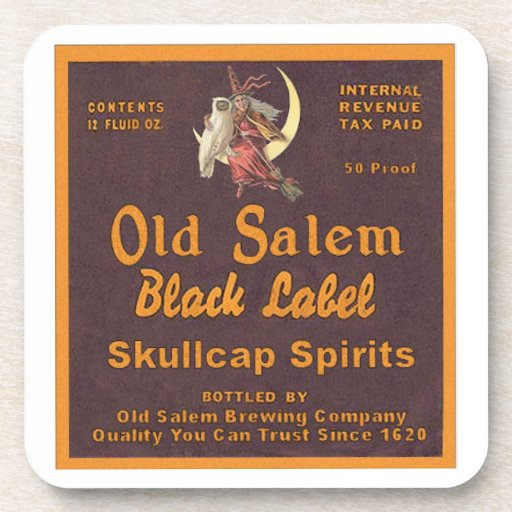 Old Salem Halloween Vintage Label Party Coasters