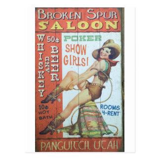 Old Saloon Sign Postcard