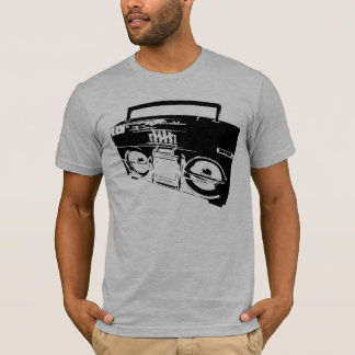 Old School Boombox Art gray mens semi fitted tee