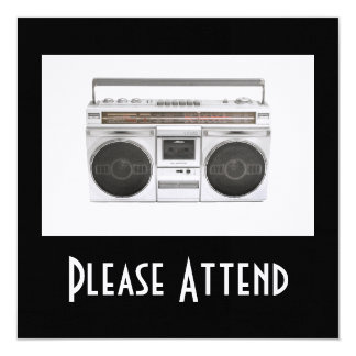 Old School Boombox Radio 13 Cm X 13 Cm Square Invitation Card