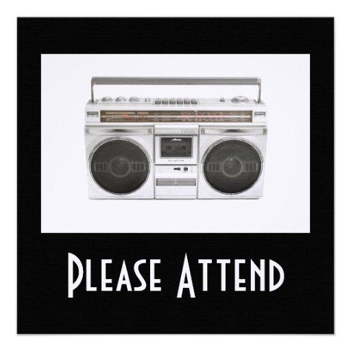 Old School Boombox Radio Custom Invites