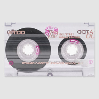 Old school cassette tape rectangular sticker