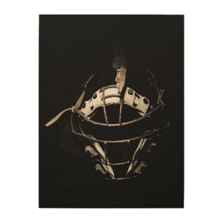 Old School Catchers Mask Wood Print
