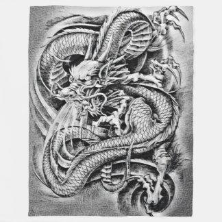 Old School Chinese Dragon Pencil Art Fleece Blanket