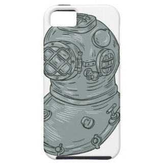 Old School Diving Helmet Drawing Case For The iPhone 5
