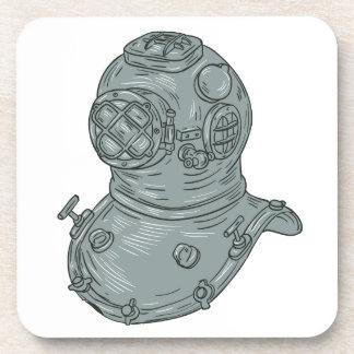 Old School Diving Helmet Drawing Coaster