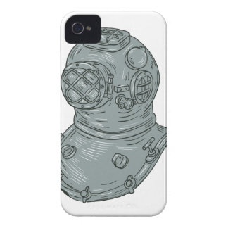 Old School Diving Helmet Drawing iPhone 4 Case-Mate Case