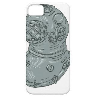 Old School Diving Helmet Drawing iPhone 5 Cover