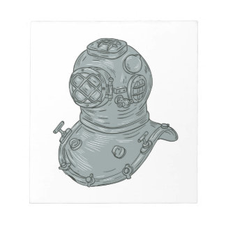 Old School Diving Helmet Drawing Notepad