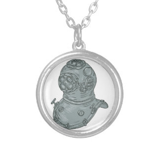 Old School Diving Helmet Drawing Silver Plated Necklace