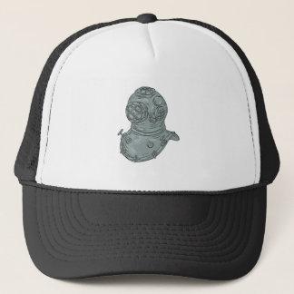 Old School Diving Helmet Drawing Trucker Hat