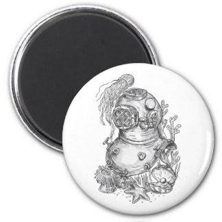 Old School Diving Helmet Tattoo Magnet