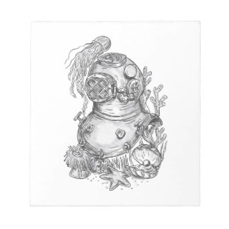 Old School Diving Helmet Tattoo Notepad