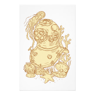Old School Diving Helmet Underwater Drawing Customised Stationery