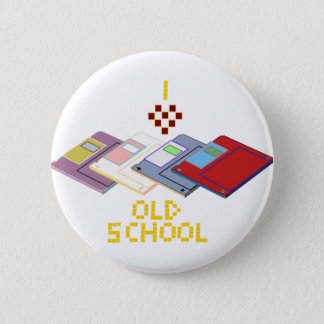old school floppy 6 cm round badge