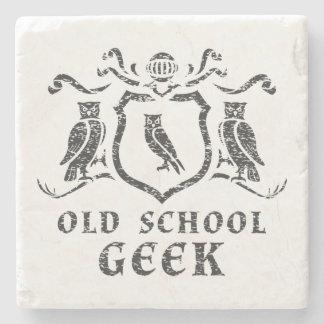 Old School Geek Owl Marble Stone Coaster