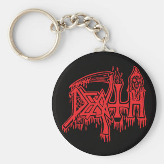 old School Logo red on black button Key Ring