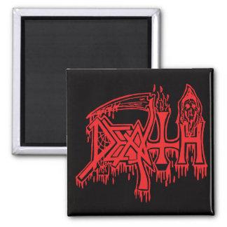 Old school logo red on black magnet