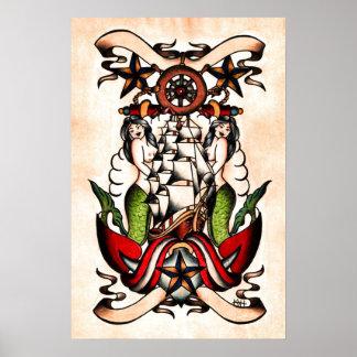 Old School Maritime Tattoo Flash Poster