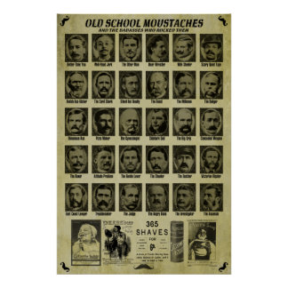 Old School Moustaches - Good Humor for Bars n More Print