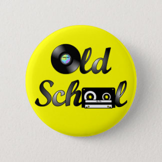Old School Music Media Round (Yellow) 6 Cm Round Badge