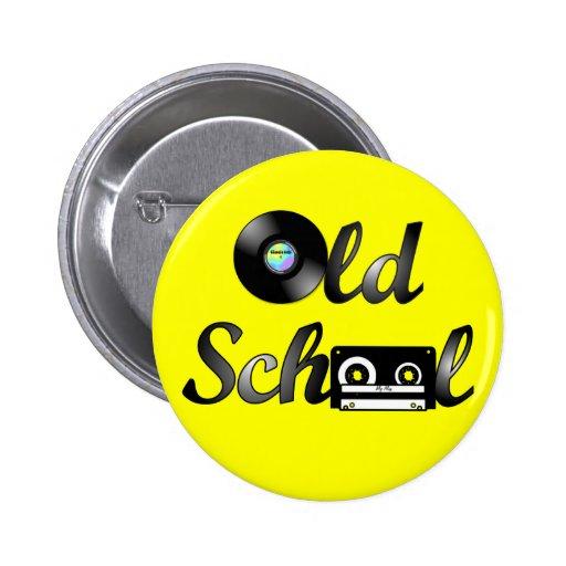 Old School Music Media Round (Yellow) Button