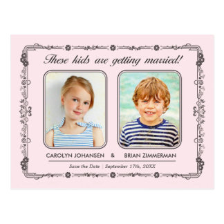 Old School Photos Save the Date Postcard | Pink