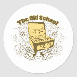 Old School Reel To Reel Tape Player Round Sticker