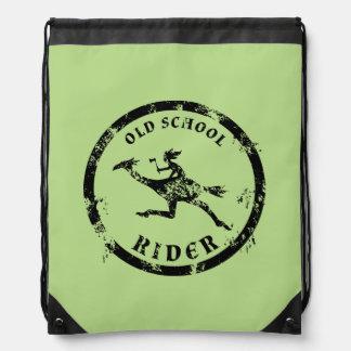 Old School Rider Drawstring Backpack