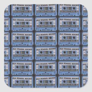 Old School Rocks Cassette Tapes Square Stickers