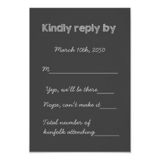 "Old School Rustic Chalkboard Country Wedding RSVP 3.5"" X 5"" Invitation Card"