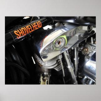 Old School Shovelhead Motorcycle Art Poster